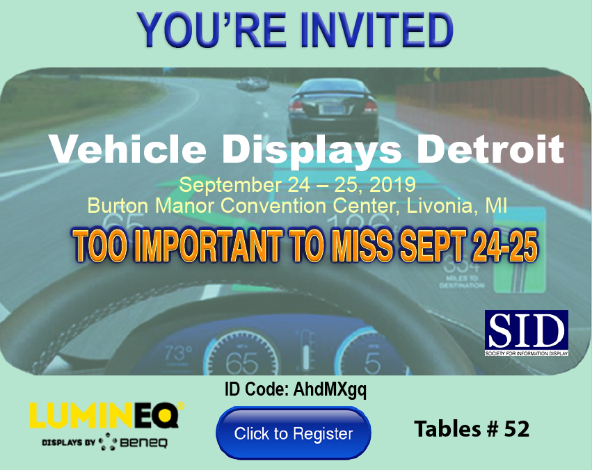 Vehicle display detroit 2019 invite from Lumineq